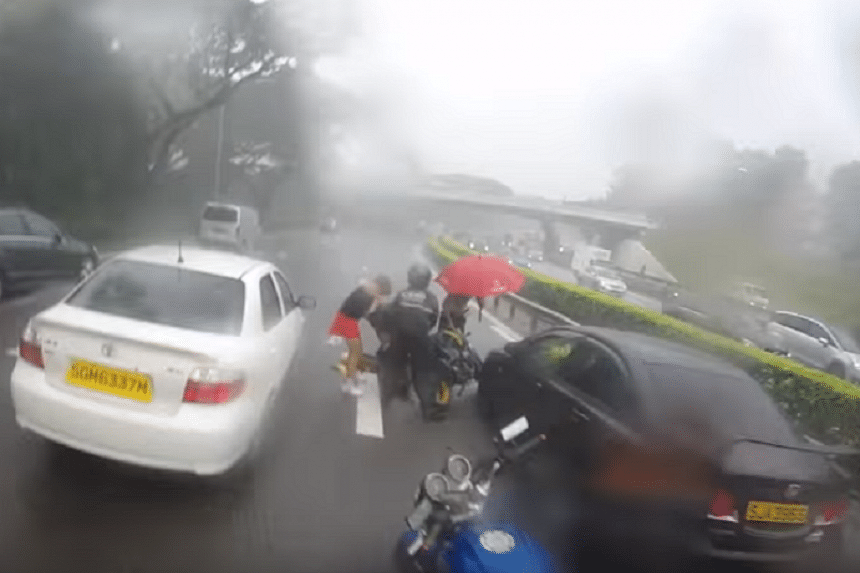 Four motorists stopped to help the injured man.