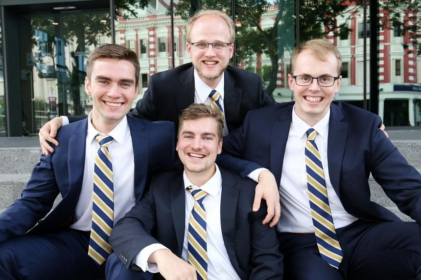 The team from Queen's University of Canada, comprising Mr Christian Baldwin (centre, nearest camera) and (from left) Mr Malcolm Eade, 22, Mr Tyler Whitney, 22 and Mr Ryan Picard, 23.