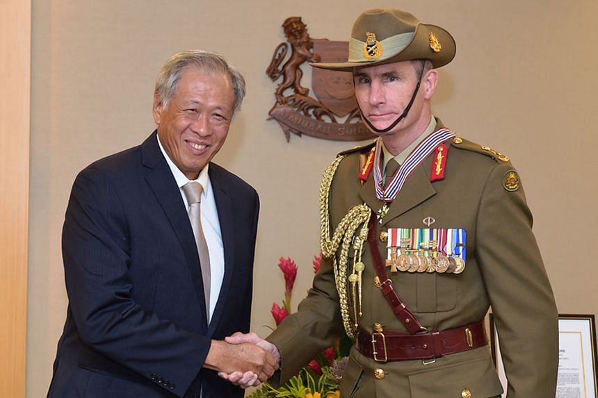 Australia's Chief of Army, Lieutenant- General Angus Campbell, was yesterday conferred the Pingat Jasa Gemilang (Tentera), or Meritorious Service Medal (Military). Defence Minister Ng Eng Hen presented Lt-Gen Campbell the award at the Ministry of Def