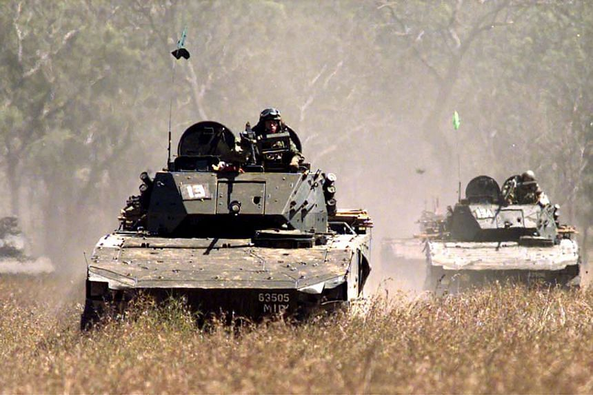 A file photo of a Bionix Infantry Fighting Vehicle. NSF Chan Hiang Cheng Gavin, 21, was travelling in a similar vehicle as part of Exercise Wallaby at the Shoalwater Bay Training Area in Australia when the vehicular incident took place on Sept 15, 20