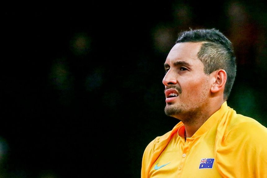 Kyrgios (above, during the match) came back from two sets to one down to defeat 33-year-old Steve Darcis.