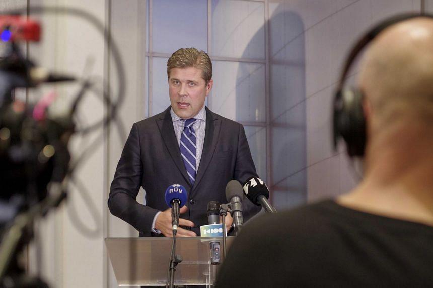 Benediktsson speaks during a press conference in Reykjavik, Sept 15, 2017.