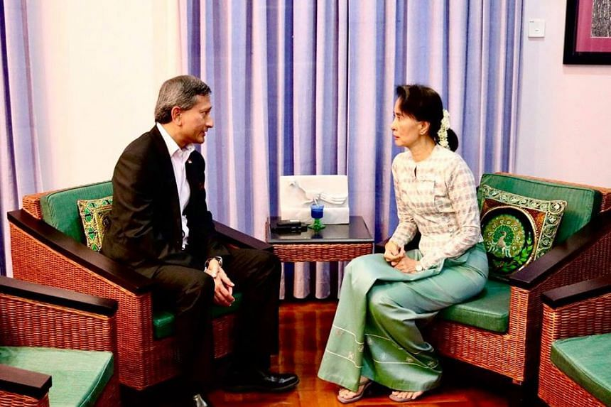 Foreign Minister Vivian Balakrishnan met with Myanmar State Counsellor Aung San Suu Kyi, on Friday (Sept 15).