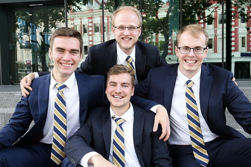 The winning Queen's University team was represented at the finals by (clockwise from left) Mr Malcolm Eade, Mr Tyler Whitney, Mr Ryan Picard and Mr Christian Baldwin. The fifth member was not present.