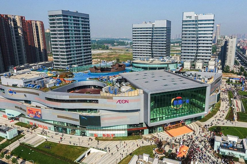 CapitaMall Westgate in Wuhan, China. The SGX My Gateway report said 16 of the 20 largest capitalised stocks with at least 50 per cent of revenue generated from China have had positive price returns so far this year.