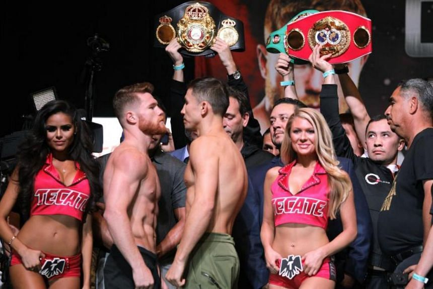 Boxers Canelo Alvarez (right) and Gennady Golovkin face-off during their weigh-in at the MGM Grand Hotel & Casino on Sept 15, 2017 in Las Vegas, Nevada.
