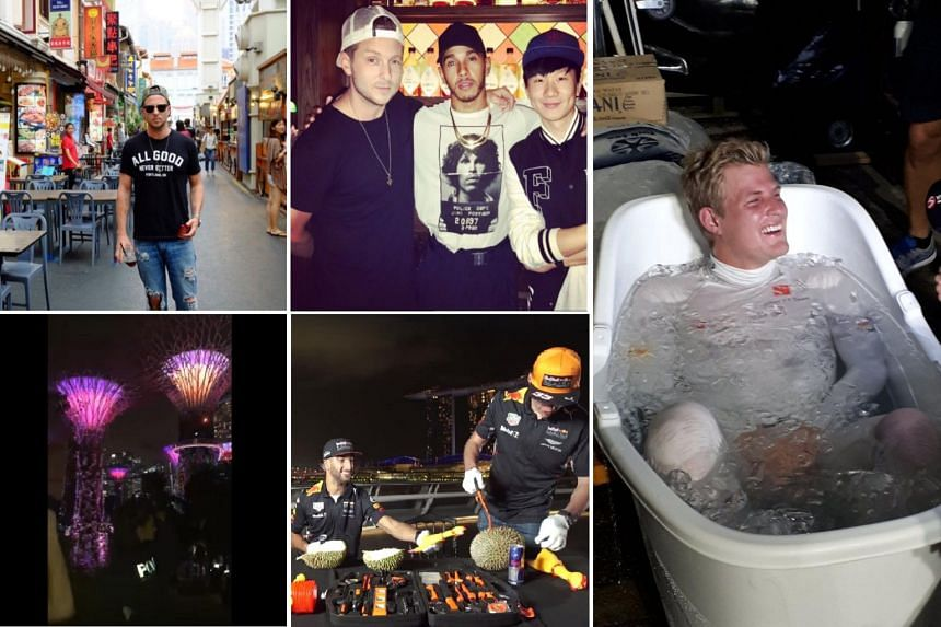 (Clockwise from left) OneRepublic frontman Ryan Tedder in search of chicken rice at Chinatown, Tedder with Lewis Hamilton and JJ Lin, Marcus Ericsson in an ice bath, Max Verstappen and Daniel Ricciardo trying durian, and Ariana Grande dancing at the