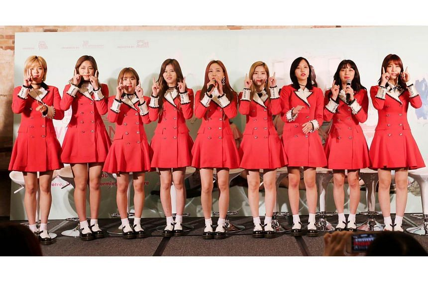 South Korean girl band Twice at a press conference on April 28, 2017, ahead of their first concert in Singapore.