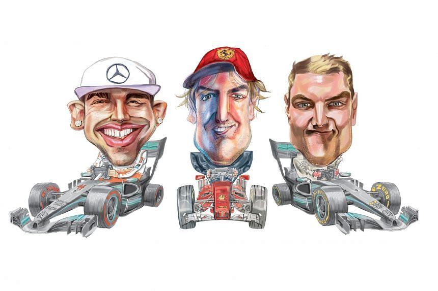 F1 racers Lewis Hamilton, Sebastian Vettel and Valtteri Bottas.