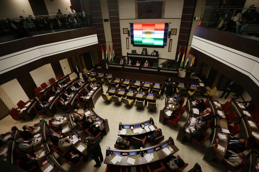 A picture taken on Sept 15, 2017, shows a general view of Kurdish MPs sitting during a session of Kurdistan's regional parliament in Arbil, the capital of the autonomous Kurdish region of northern Iraq.