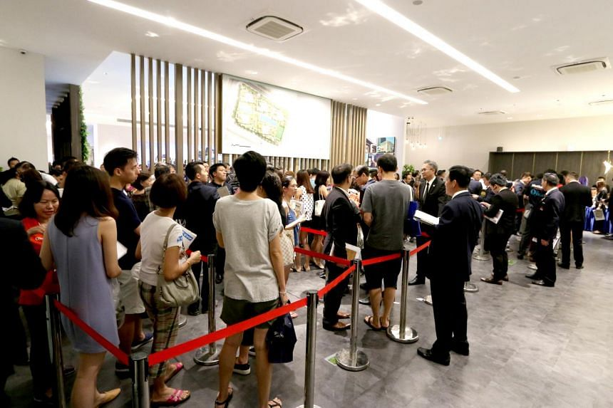 Potential buyers at the launch of Chinese developer Qingjian Realty's Le Quest at Bukit Batok.