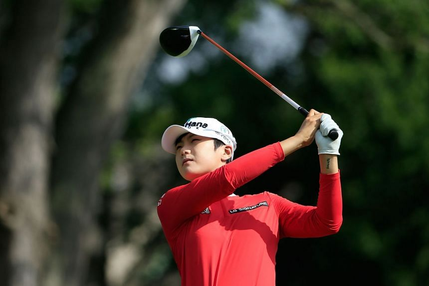 Park (above, in a file photo) shot an eight under par 63 to lead.