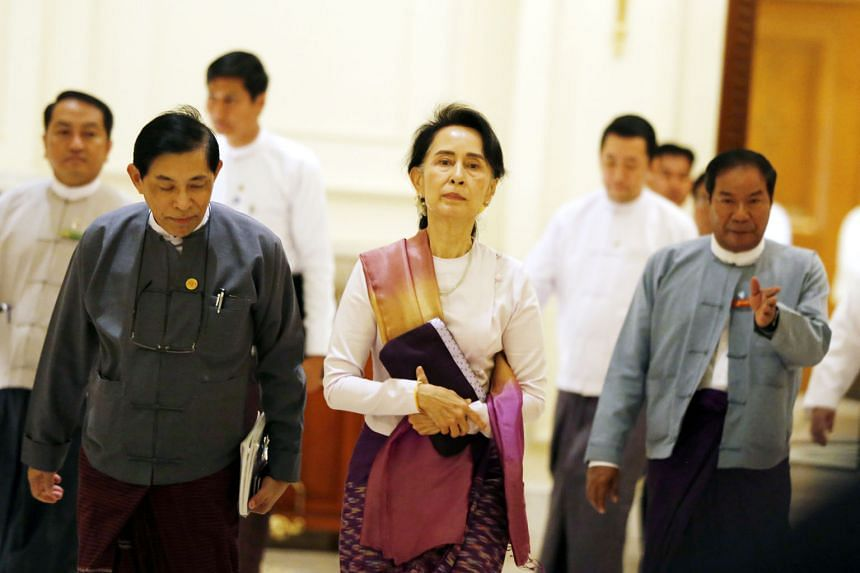 Ms Aung San Suu Kyi arriving for a meeting with Hong Kong Chief Executive Carrie Lam in Naypyitaw on Sept 15. Targeting Ms Suu Kyi will make any attempt by her to engineer solutions more difficult. International criticism will leave her no option but