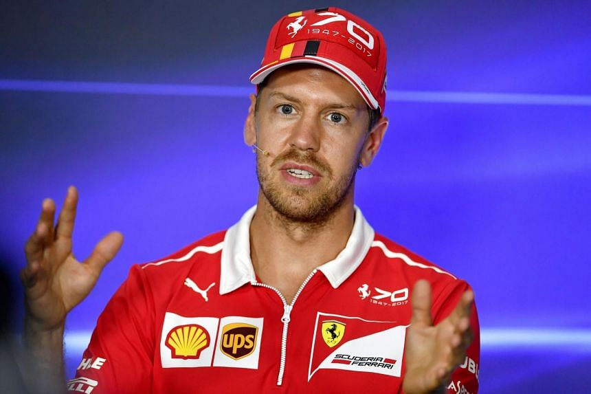 Ferrari's German driver Sebastian Vettel speaks during a press conference at the Autodromo Nazionale circuit in Monza on Aug 31, 2017.