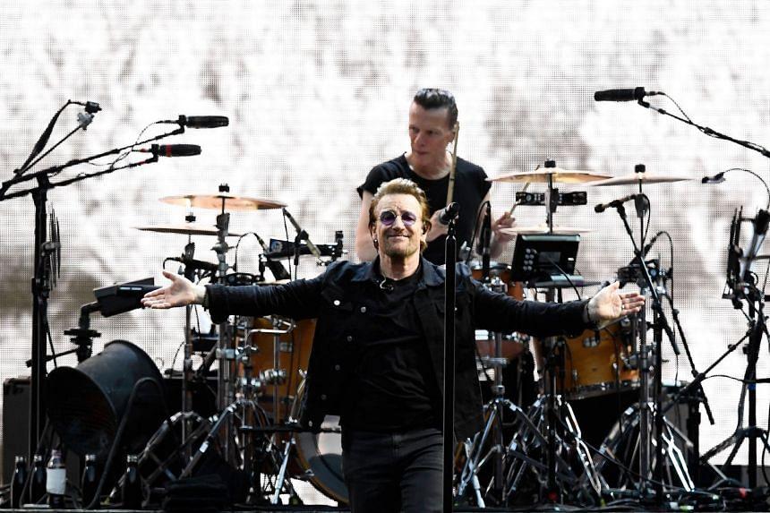 Bono sings as U2 perform during their U2: The Joshua Tree Tour in July 2017.