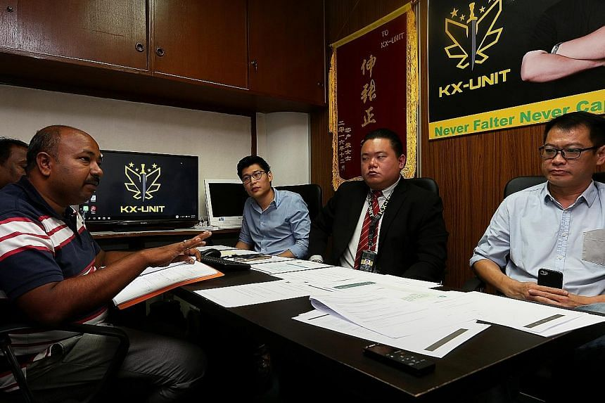 Speaking to reporters on Thursday were (from left) Mr Mahipal Reddy, senior sales and marketing manager of Lovely Landscape and Construction; Mr Ruben Chong, director of Calvary Carpentry; Mr Winston Chin, director of KX-Unit; and Mr William Goh, man