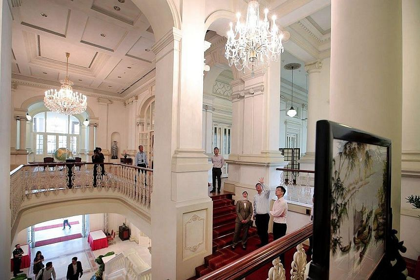 "Madam Halimah Yacob being given a tour of the Istana on Thursday, the day she was sworn in as President. As Emeritus Senior Minister Goh Chok Tong said in congratulating her, the process of this election has been ""highly controversial"", but Madam Hal"
