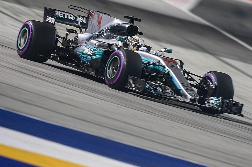 Mercedes' Lewis Hamilton negotiating Turn 1 during last night's qualifying. The championship leader could only put his Mercedes fifth on the grid and will focus on damage limitation today as he seeks to protect his slender lead in the drivers' standi