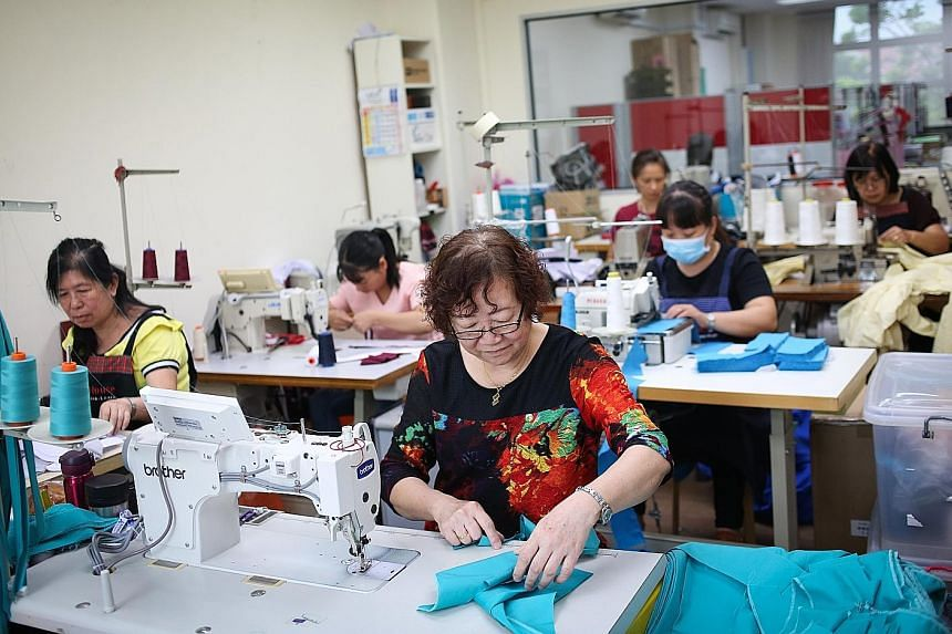 Above: Asencio is one of the few remaining suppliers that make school uniforms locally. Children who need a bigger size can get custom-made uniforms from it in days, instead of up to a month when the order is fulfilled by overseas partners. Left: Mrs