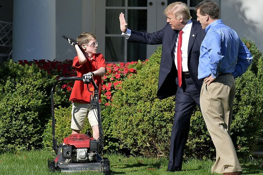 President Donald Trump high-fiving young entrepreneur Frank Giaccio, who had written to the White House offering his lawn-mowing skills.
