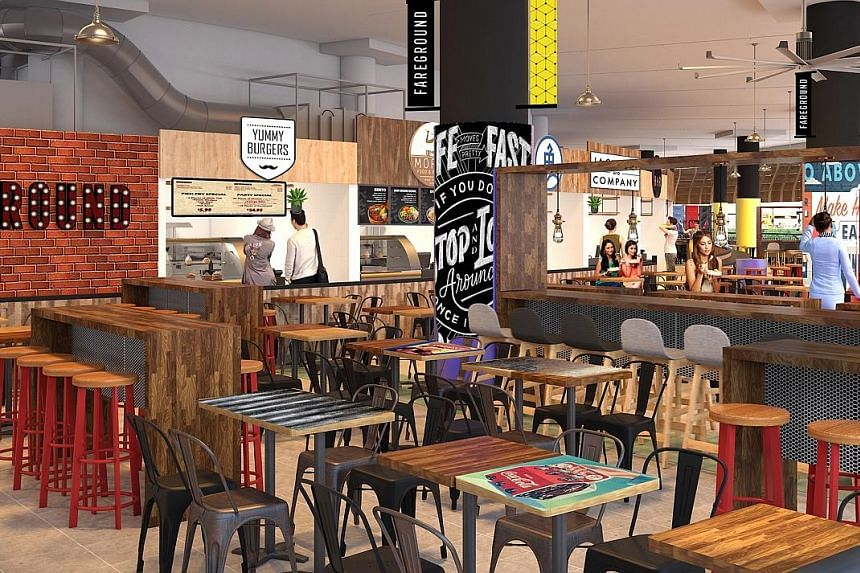 """(Left) Artist's impression of Pasir Ris Central Hawker Centre, which will have a """"hipster"""" area on the second floor for young hawkers. (Right) Bedok Marketplace has several """"hipster"""" hawker stalls."""
