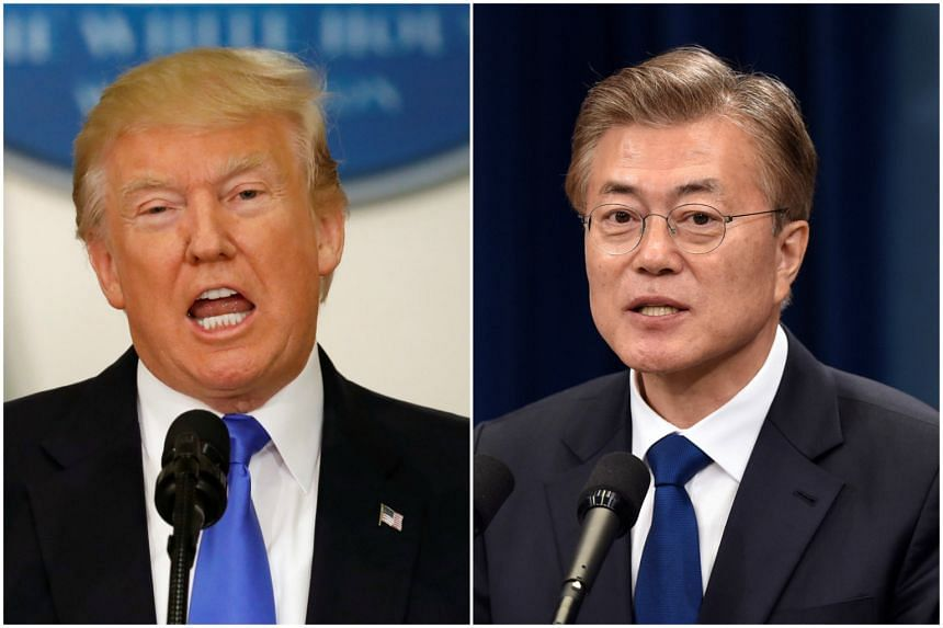 Mr Donald Trump (left) and Mr Moon Jae In agreed to strengthen cooperation and exert stronger and practical sanctions on North Korea.