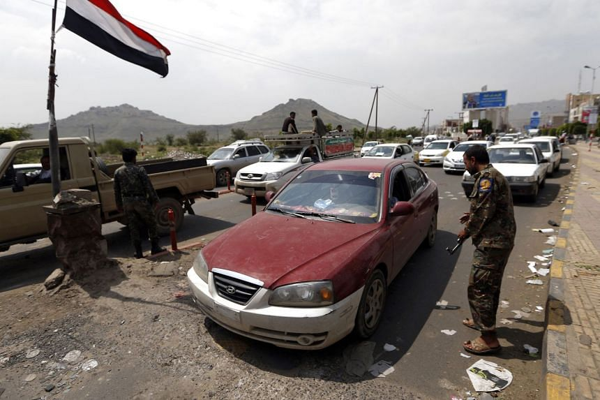 Yemeni soldiers manning a security checkpoint in Sanaa on Aug 21, 2017.