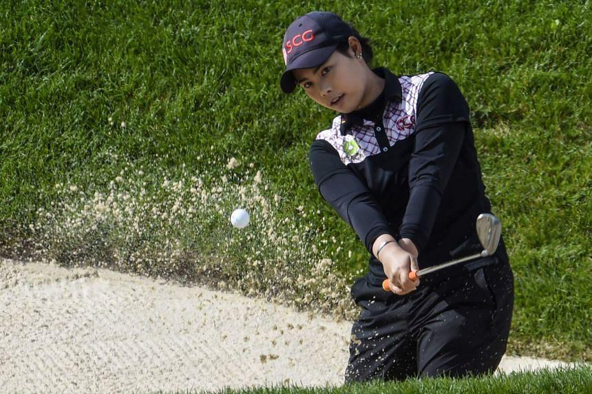 Moriya Jutanugarn competes during the Evian Championship women's golf tournament on Sept 16, 2017.