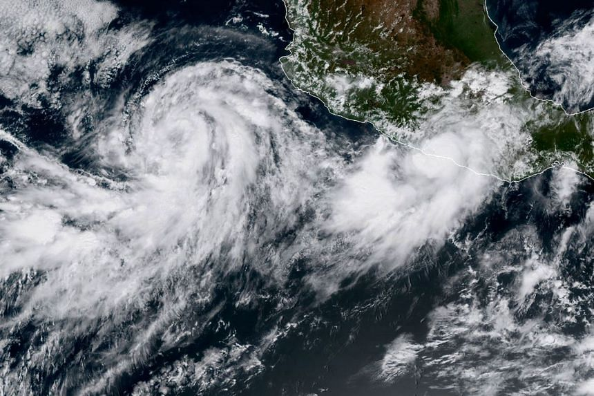 A satellite image shows Hurricane Max (right) and Norma on Sept 14, 2017.