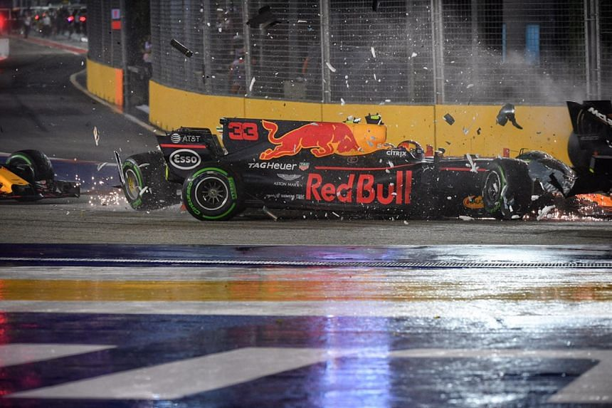 Red Bull's Max Verstappen in a crash during the 2017 Formula One Singapore Grand Prix.