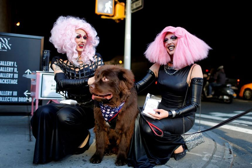 """Visitors to the New York Fashion Week this month with their canine companion. This year's event featured a segment in which dogs took – or were taken on – to the runway, with """"humans as the accessories""""."""
