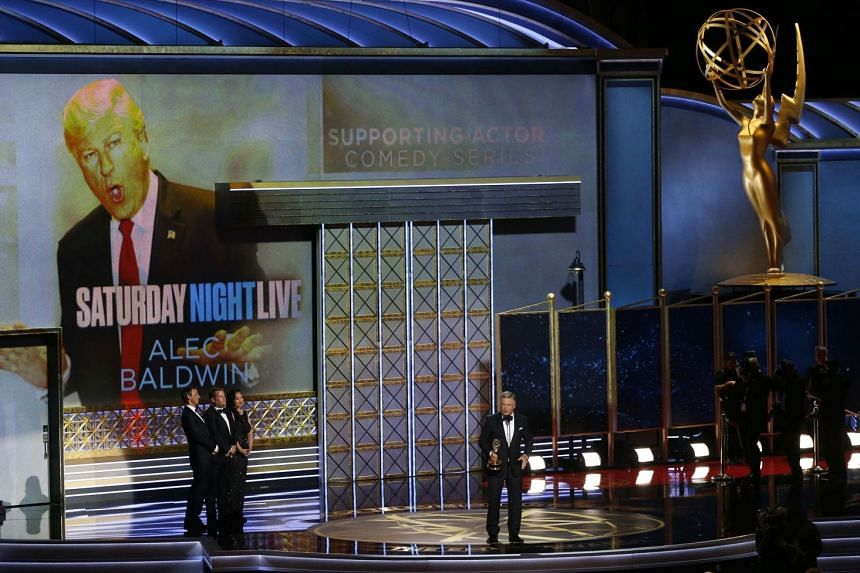 Alec Baldwin accepting the award for Outstanding Supporting Actor in a Comedy Series for Saturday Night Live.