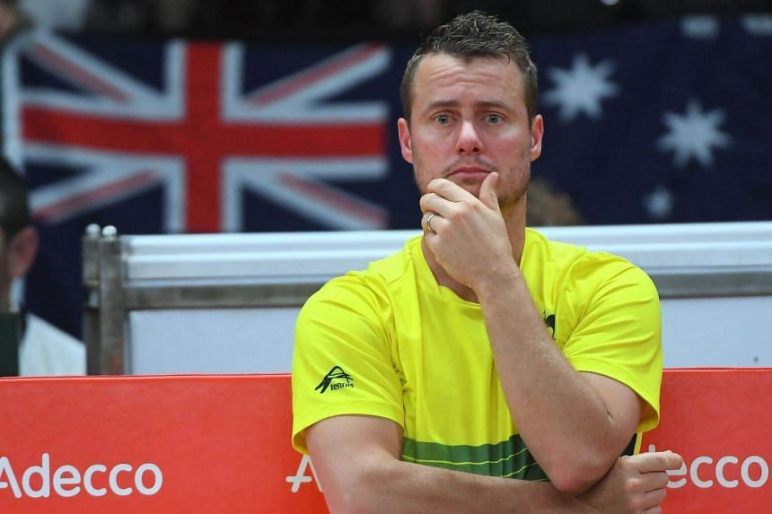 Australia's captain Lleyton Hewitt reacts during the Davis Cup semifinal tennis match between Belgium's David Goffin and Australia's Nick Kyrgios in Brussels, on Sept 17, 2017.