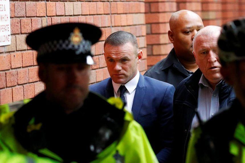 Wayne Rooney, Everton striker and former England captain arrives at Stockport Magistrates court, Stockport, Britain, on Sept 18, 2017.