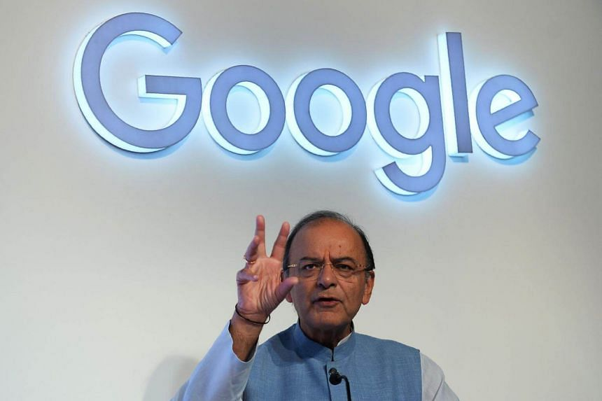 Finance Minister of India Arun Jaitley speaks during the launch of the Google 'Tez' mobile app for digital payments in New Delhi, on Sept 18, 2017.