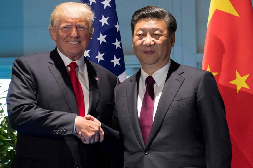 US President Donald Trump and Chinese President Xi Jinping (right) shake hands prior to a meeting on the sidelines of the G20 Summit in Hamburg, on July 8, 2017.