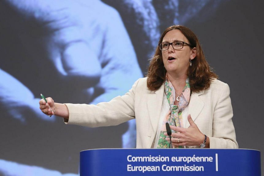 European Commissioner for Trade Cecilia Malmstrom speaks at a news conference to present international 'Alliance for Torture-Free Trade', in Brussels, on Sept 7, 2017.