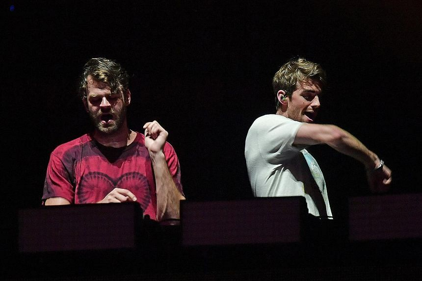 The Chainsmokers, made up of Alex Pall (far left) and Andrew Taggart attracted a crowd of almost 60,000.