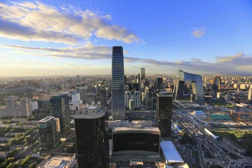 Beijing's skyline as seen from the Beijing Yintai Centre building.