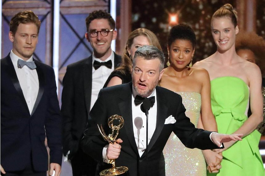 Charlie Brooker accepting the award for Outstanding Television Movie for Black Mirror: San Junipero.
