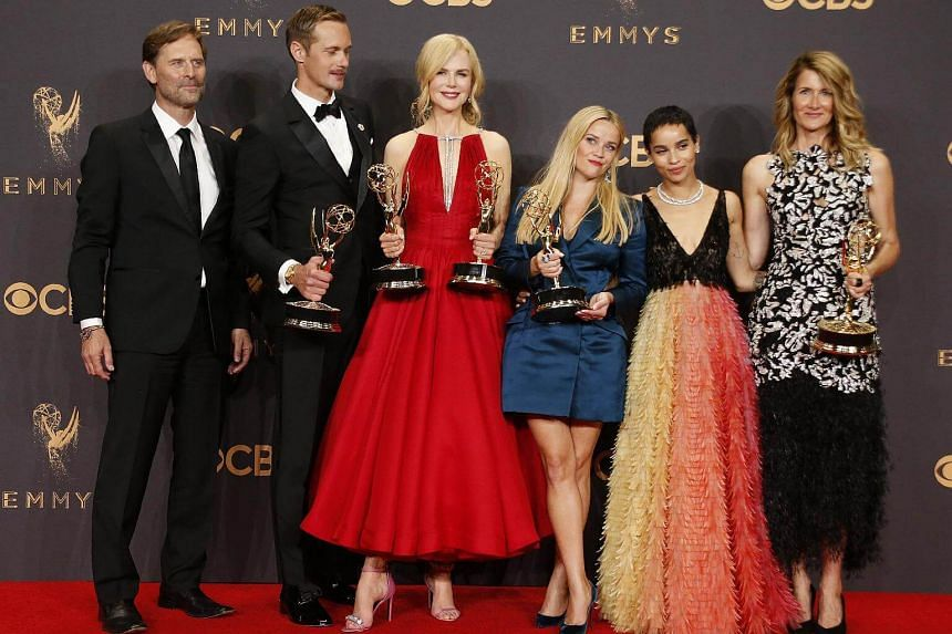 Jeffrey Nordling, Alexander Skarsgard, Nicole Kidman, Reese Witherspoon, Zoe Kravitz, Laura Dern pose with their Emmy trophies for Outstanding Limited Series for Big Little Lies.