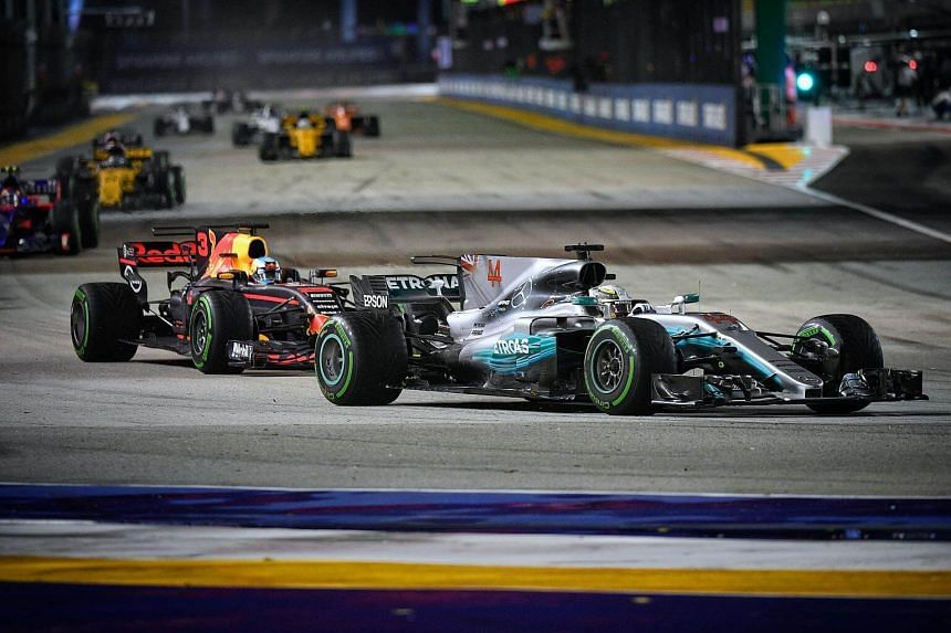 The 2017 Formula One Singapore Airlines Singapore Grand Prix at the Marina Bay street circuit on Sept 17, 2017.