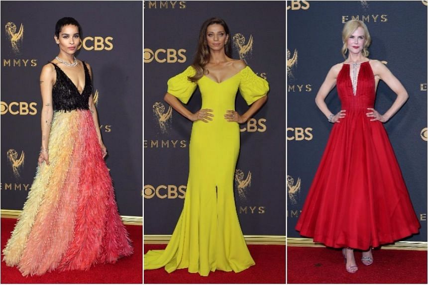 (From left) Zoe Kravitz, Angela Sarafyan and Nicole Kidman arrive at the 69th Primetime Emmy Awards.
