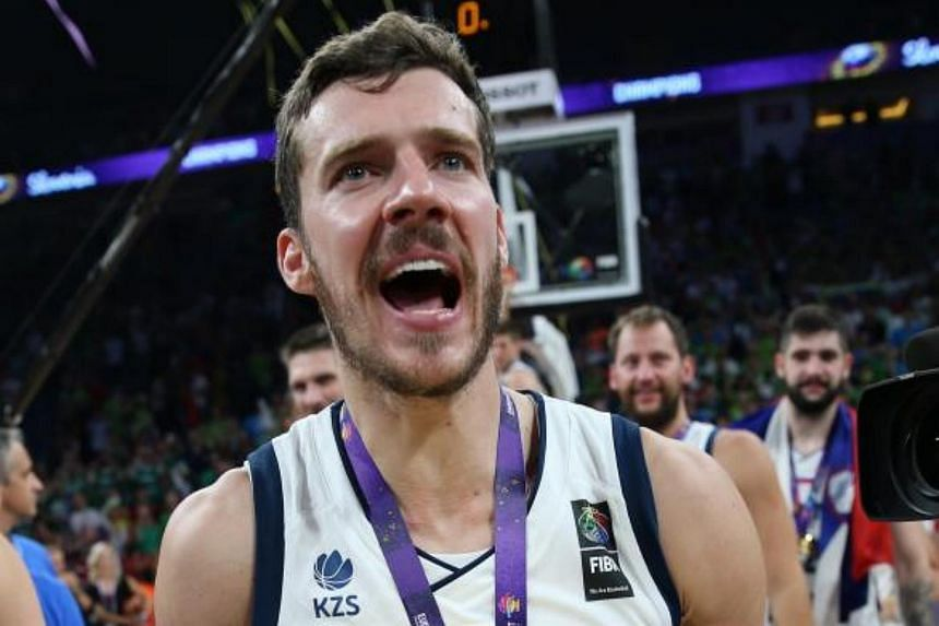 Slovenia's Goran Dragic holds the trophy during the award ceremony after winning against Serbia the EuroBasket 2017 final match between Slovenia and Serbia, in Istanbul, Turkey on Sept 17, 2017.