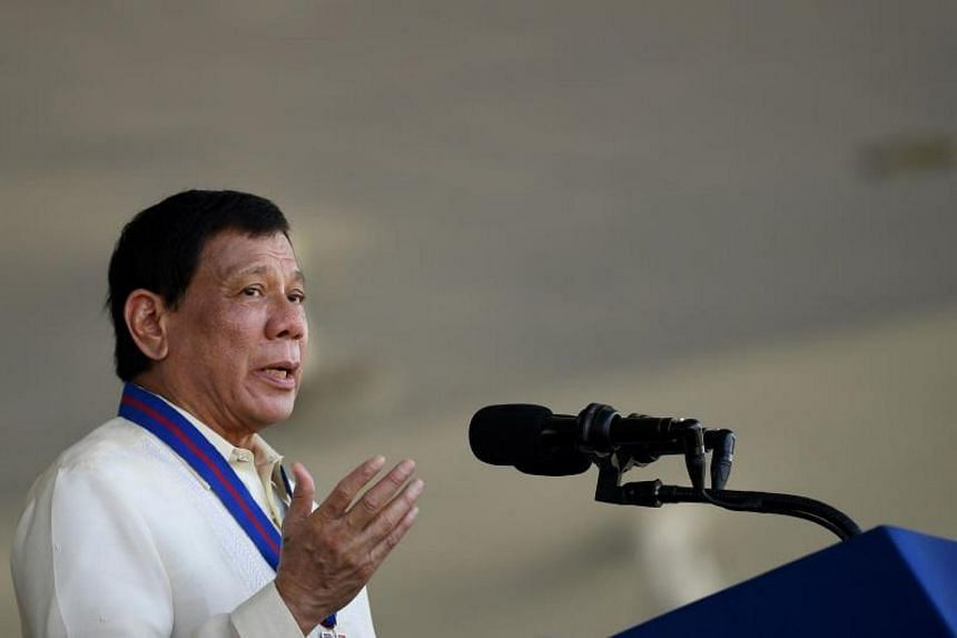 Philippine President Rodrigo Duterte giving a speech during the 116th anniversary of the Philippine National Police (PNP) at its headquarters in Manila.