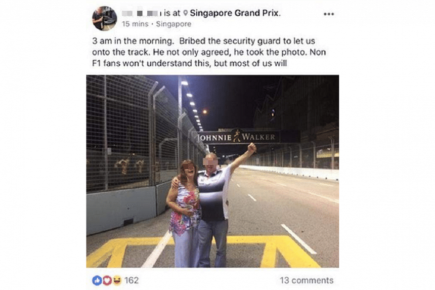 A surfaced that reportedly showed a couple of fans - one of whom was wearing a McLaren Honda team shirt - posing on the race track.