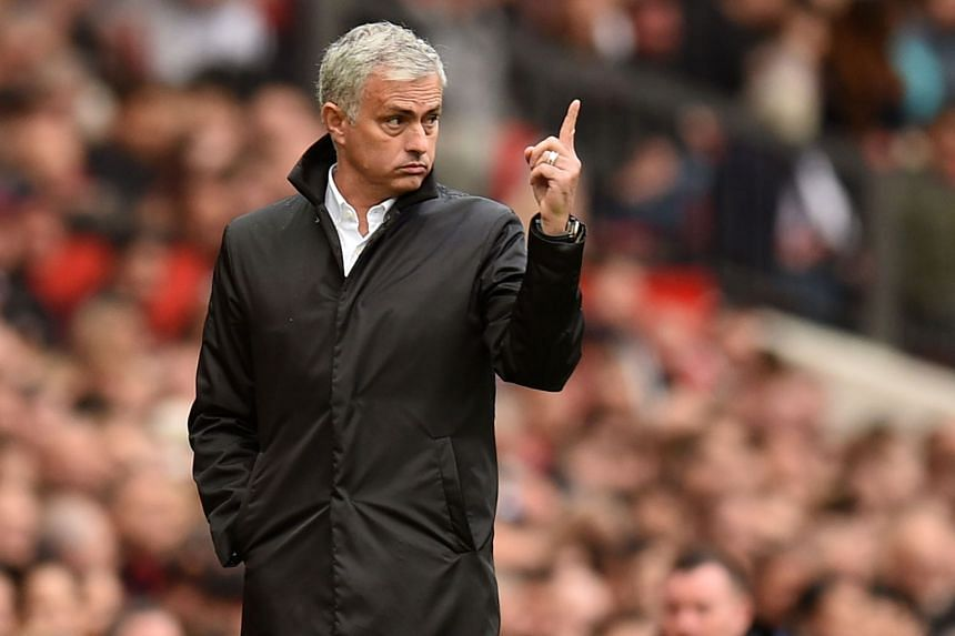 Manchester United's manager Jose Mourinho gestures on the touchline during the English Premier League football match between Manchester United and Everton, on Sept 17, 2017.