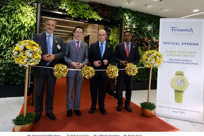 (From left to right) Firmenich president of perfumery and ingredients Mr Armand de Villoutreys, chairman of Singapore's  Economic Development Board Mr Beh Swan Gin, Firmenich chief executive Mr Gilbert Ghostine and Firmenich Singapore general manager