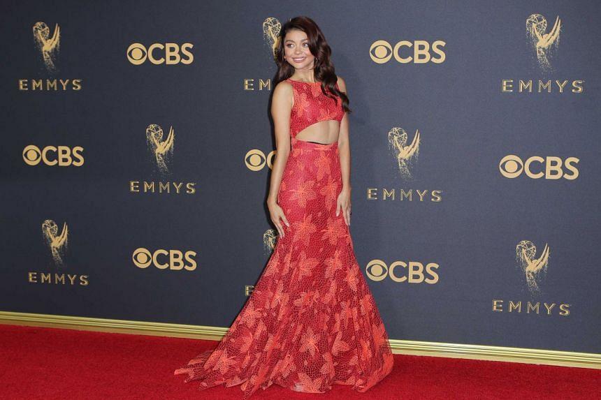 Sarah Hyland arrives at the 69th Primetime Emmy Awards.