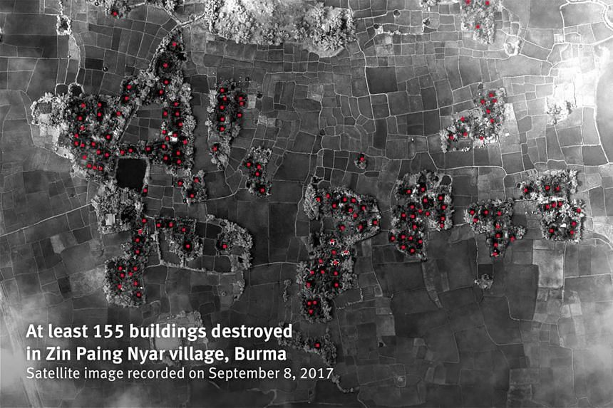A satellite image recorded on Sept 8 showing at least 155 buildings destroyed in Zin Paing Nyar village, Myanmar.